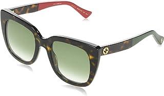 نظارات شمسية من غوتشي (0163-S 004) دارك هافانا - عدسات متدرجة باللون الأحمر والأخضر