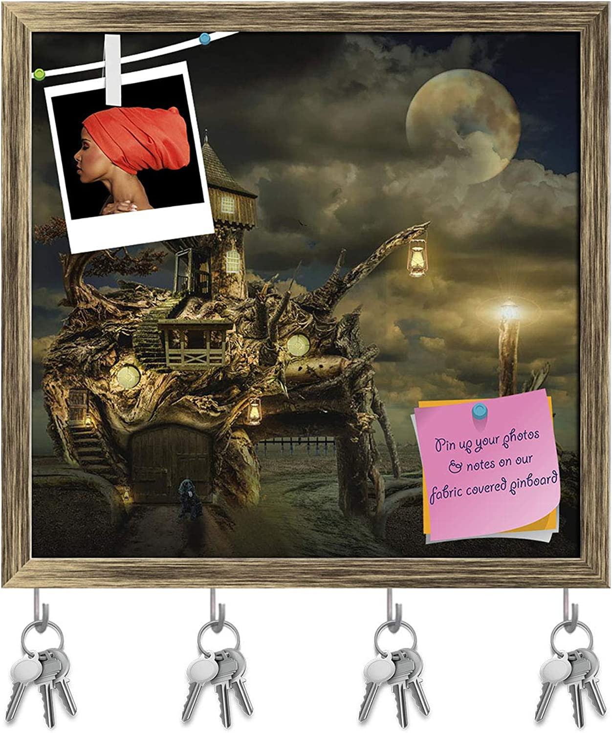 Artzfolio Fairy House Fort D3 Key Holder Hooks   Notice Pin Board   Antique golden Frame 16.7 X 16Inch
