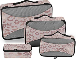 Leopard Packing Cubes for Suitcases 4 Set, Travel Packing Cubes Women Packing Travel Organizer Rose Gold Leopard