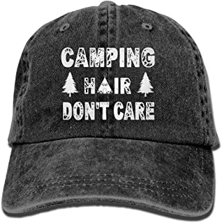 Unisex Dad Hat Camping Hair Don't Care Vintage Adjustable Baseball Cap