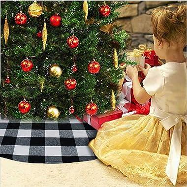 Senneny 48 Inch Buffalo Plaid Christmas Tree Skirt - Larger 3 Inch Black and White Checked Tree Skirts Mat for Christmas Holi