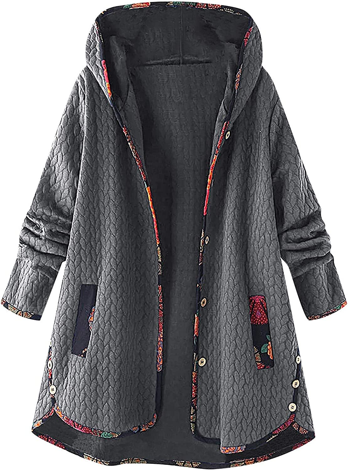 DEATU Winter Clothes for Women Button Jackets Coats with Hood Long Sleeve Plus Size Casual Vintage Warm Cotton Outwear