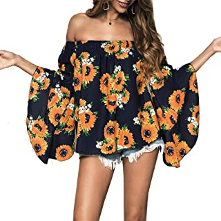casuress Women's Off Shoulder Tops-Summer Floral Print Casual Shirt Blouses