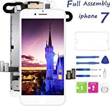 for iPhone 7 Screen Replacement White, Lcd Touch Digitizer Display Dcreen with Front Camera Ear Speaker, Screen Protector and Repair Tools for A1660, A1779, A1778