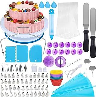 Neueste 150 Teiliges Tortenplatte Drehbar Tortenständer Kuchen Drehteller Cake Decorating Turntable Sprühdüsenset Kuchenzubehörset Gebäckwerkzeug für Backen Gebäck, Zuckerguss, Mustern