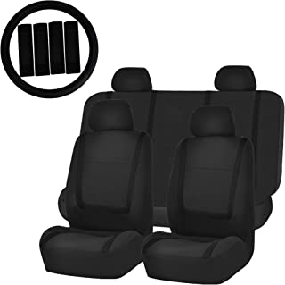 FH Group FH-FB032114 Unique Flat Cloth Car Seat Covers with FH2033 Steering Wheel Cover and Seat Belt Pads, Solid Black Color- Fit Most Car, Truck, SUV, or Van