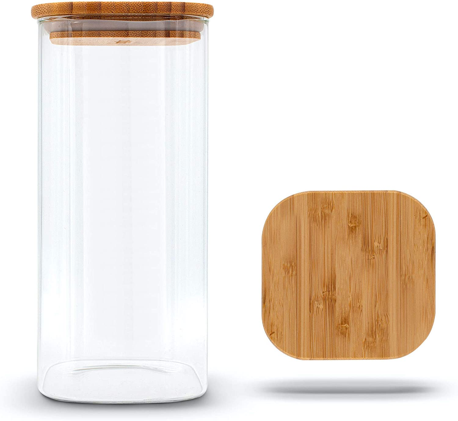 Molis Square Storage Jar with Bamboo Lid 9 kg for Flour 9.9 L Large Storage  Jar Versatile and Aroma Tight