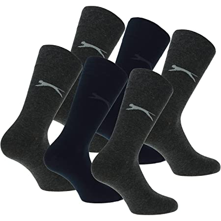 Slazenger 6 Pairs Men Comfortable Socks Mid Calf Height, Cotton, Lycra (Multicolor, 11-14)