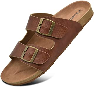 KUAILU Mens Slides Sandals Arizona Comfort Slip On Cork Footbed Sandals with Two Adjustable Leather Straps for Outdoor/Indoor