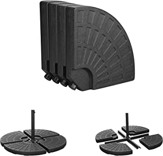 OVASTLKUY 4-Piece Cantilever Offset Patio Umbrella Stand Round Umbrella Base Suitable for All Kinds of Cross Tiles Black (black004)