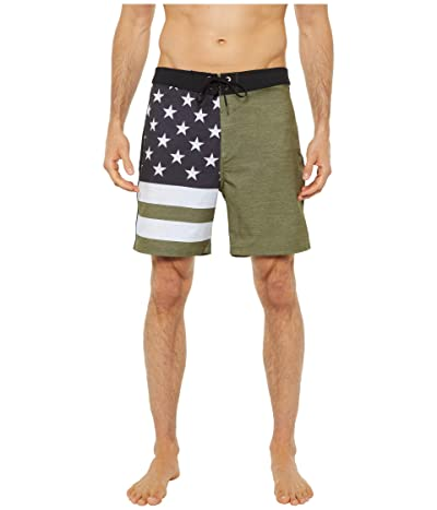 Hurley 18 Phantom Patriot Boardshorts (Medium Olive) Men
