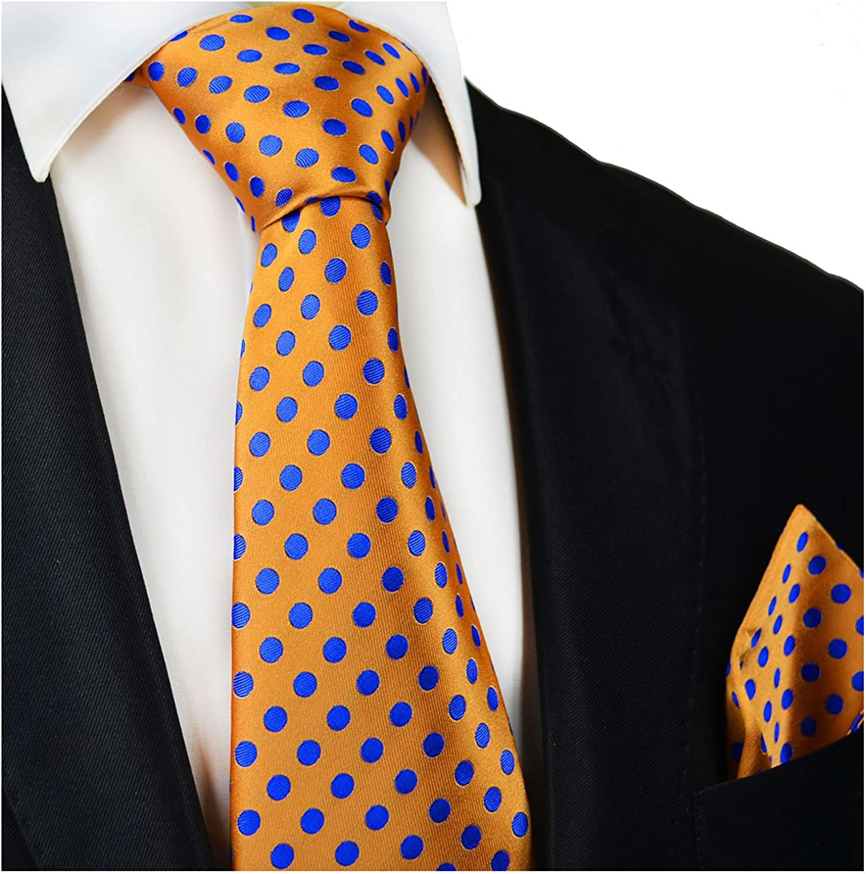 Orange and Blue Silk Tie and Pocket Square Paul Malone Red Line