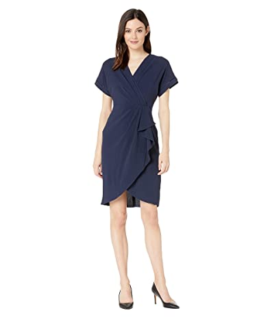 Maggy London Novelty Crepe Faux Wrap Dress (Navy/Coral) Women