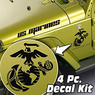 SkunkMonkey - Jeep Wrangler LJ TJ JK JKU 4 Piece Side Hood & Fender Decal Kit - USMC Marine Corps Globe & Anchor - Matte Black Stickers