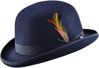 23f79cc4f8b2 High Quality Hard Top 100% Wool Bowler Hat WITH Feather - Satin Lined -  Sizes