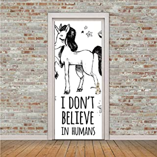 YOLIYANA Unicorn Waterproof Sticker,Mysticism Occult Featured Set with Pyramids Aliens Dream Catcher Grunge Print Artwork for Home Office,30″ W x 78″ H