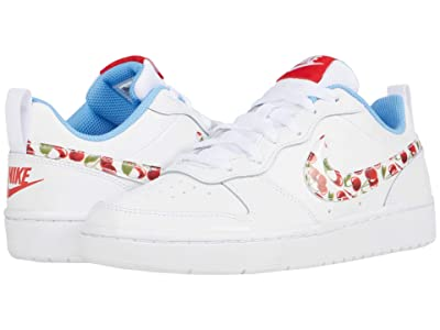 Nike Kids Court Borough Low 2 (Big Kid) (White/White/University Blue/Track Red) Girls Shoes