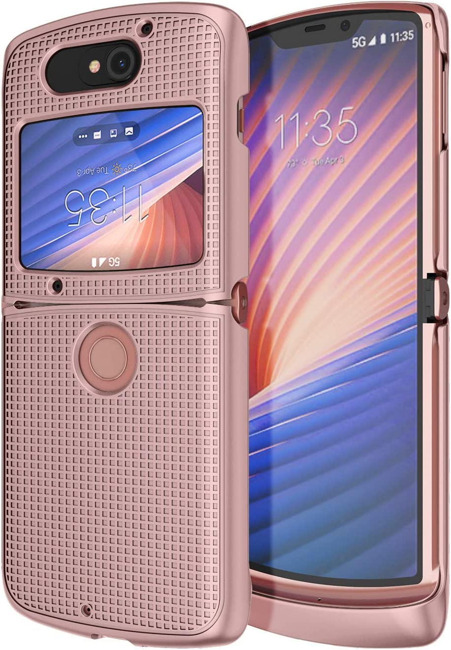 Case for Motorola RAZR 5G Flip Phone, Nakedcellphone [Rose Gold Pink] Protective Snap-On Hard Shell Cover [Grid Texture] for Motorola Moto RAZR 5G Flip Phone (2020) XT2071