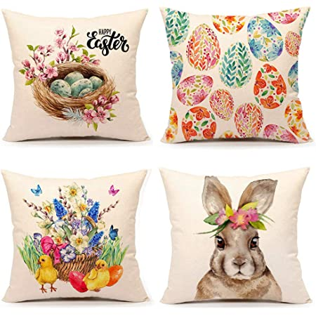 Ueerdand Easter Pillow Covers Set Of 4 16x16 Inch Farmhouse Welcome Easter Egg Rabbit Decorative Pillow Cases Holiday Throw Cushion Cover For Home Sofa Office Car Decor 16 X 16 Home