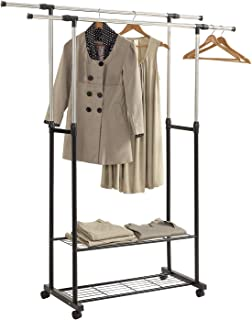 HOME BI Adjustable Garment Rack with 2 Tier Metal Shelf for Shoes Boxes, Rolling Clothes Organizer, High Capacity,Stainless Steel,Heavy Duty up to 110 pounds,Black