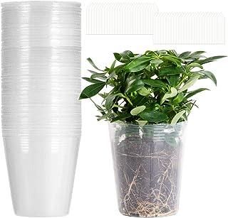 80 Pack 4.7'' × 4.7'' Clear Gardening Planter Pots- Transparent Plant Nursery Pots with Drain Holes Plastic Orchid Pots wi...