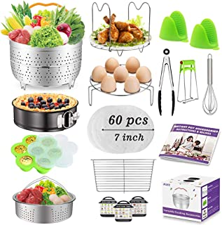 Accessories for Instant Pot, Accessories Compatible with 6,8 qt Instant Pot, Ninja Foodi 8 qt - 2 Steamer Baskets, Springform Pan, Egg Bites Mold, Steamer Rack Trivet, Parchment Papers, Instructions