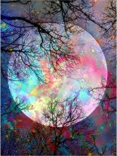 GLymg Diamond Painting Full Drill Moon Tree Rhinestones Embroidery Full Square 12X16 Inch