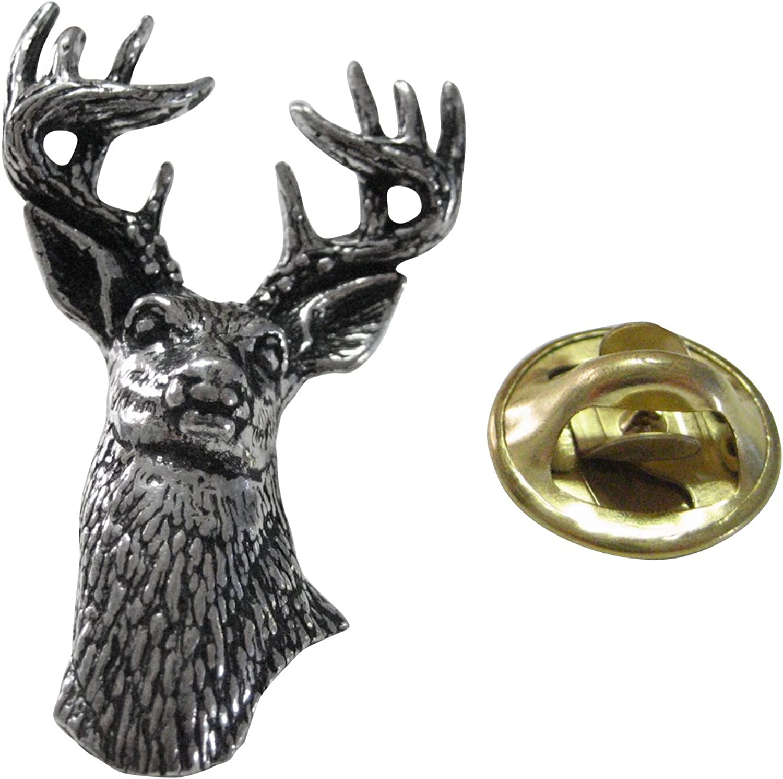 Kiola Designs White Tailed Stag Deer Head Lapel Pin