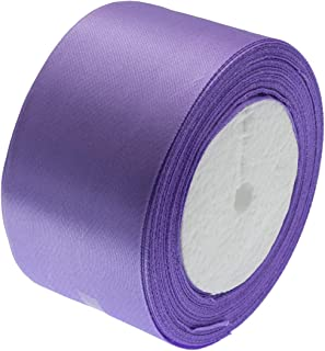 ATRibbons 50 Yards 2 inches Wide Satin Ribbon Perfect for Wedding,Handmade Bows and Gift Wrapping,25 Yards/Roll x 2 Rolls (Lilac)