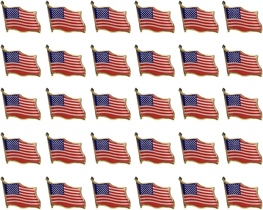 30PCS American Flag Waving Lapel Pins United States USA Badge Pin by CSPRING