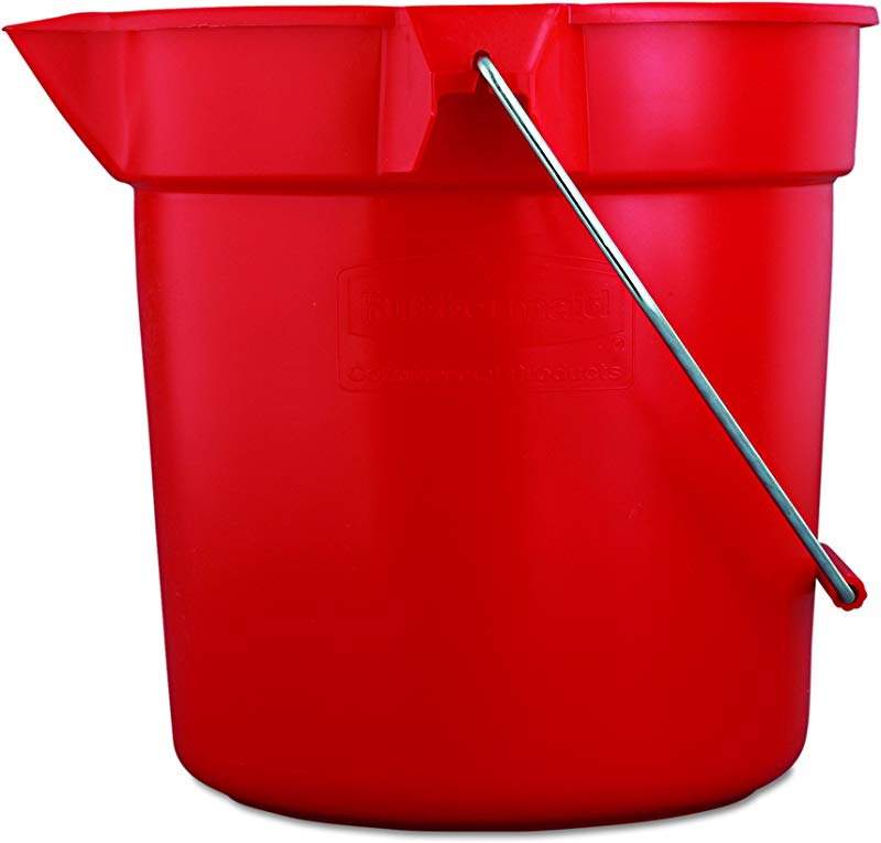 Rubbermaid Commercial 10 Qt BRUTE Heavy Duty Corrosive Resistant Round Bucket Red FG296300RED