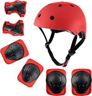 shuangjishan Kids Sport Protective Gear Set, Helmet and Pads of Wrist, Elbow, Knee, for Skateboarding, Skating, Scooter, Rollerblading, Cycling and Other Extreme Sports Activities