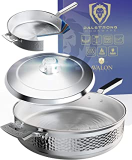 """DALSTRONG 12"""" Saute Frypan - The Avalon Series - 5.1 Quart - 5-Ply Copper Core - Hammered Finish - Silver Cookware - w/Lid..."""