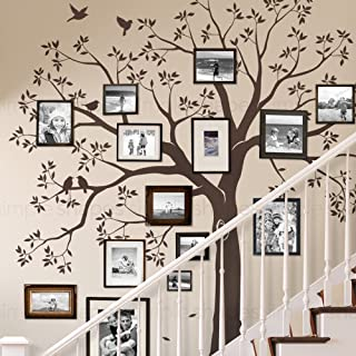 Simple Shapes Staircase Family Tree Wall Decal Tree Wall Decal - (Chestnut Brown, Standard Size: 109.5 w x 105 h Inch)