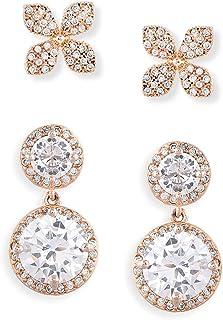 Zaveri Pearls Set of 2 Rose Gold Contemporary Cubic Zirconia Brass Stud Earrings For Women-ZPFK11148