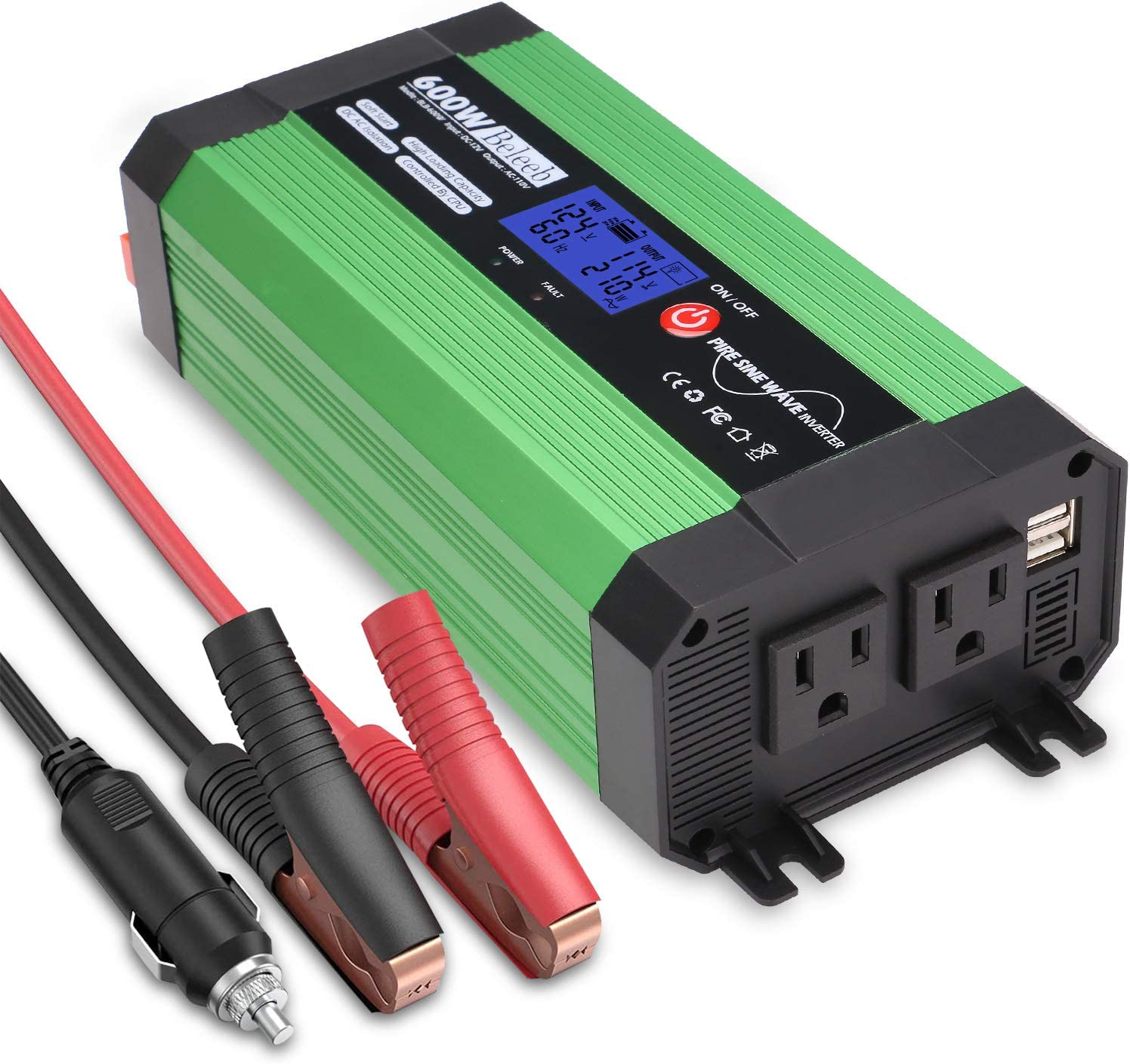Beleeb 600W Pure Sine Wave Inverter, DC 12V to AC 110V Power Inverter with LCD Display, Dual USB Ports and 2 AC Outlets: Car Electronics
