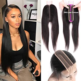 2x6 Lace Closure Deep Middle Part Lace Closure Straight Wave Brazilian Unprocessed Virgin Human Hair Lace Closure With Baby Hair 130 Density Natural Color Can Bleached Dyed(18 Inch)