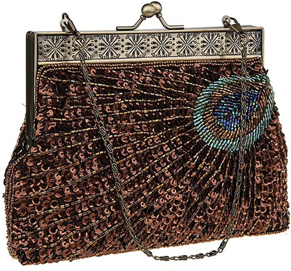 THENICE Peacock feathers Pattern beaded Sequin Evening Bag