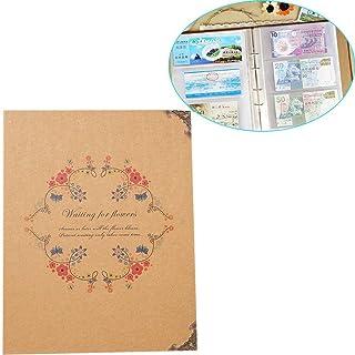 Umora アルバム 写真帳 航空券、札びら、フォト、コンサートのチケットなどの収納 3ポケット クラフト紙 花