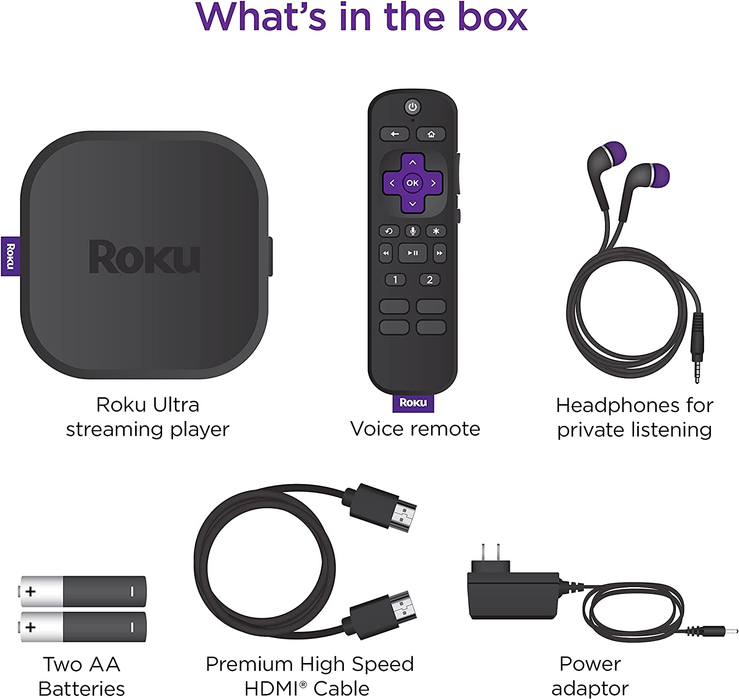 Roku Ultra 2020 | Streaming Device HD/4K/HDR/Dolby Vision with Dolby Atmos, Bluetooth Streaming, and Roku Voice Remote with Headphone Jack and Personal Shortcuts, includes Premium HDMI Cable