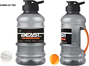 Fyugo Beast Sports Unbreakable Freezer Safe, BPA-Free, Leak Proof,Gallon Bottle with Mixer Ball and Strainer, 1.5 L - Pack of 2 Pieces