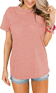 PRETTODAY Women's Casual Short Sleeve T Shirts Crew Neck Tops Basic Loose Tees with Pocket