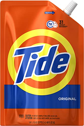 Tide Liquid Laundry Detergent Smart Pouch, Original Scent, HE Turbo Clean, Pack of three 48 oz. pouches, 93 loads (Pa...