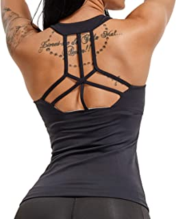 Women's Sexy Backless Yoga Fitness Tank Tops Built in Bra Racerback Workout Shirts