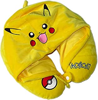 SM.Y.Toys & Accessories Travel U Shaped Relaxing Neck Pillow with Hoodie for Airplane,Car,Train and Office Napping with Gift Dust Bag .Pikachu.