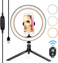 10� Ring Light LED Desktop Selfie Ring Light USB LED Desk Camera Ringlight 3 Colors Light with Tripod Stand iPhone Cell Phone Holder and Remote Control for Photography Makeup Live Streaming