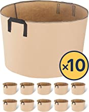 iPower 15-Gallon 10-Pack Grow Bags Fabric Aeration Pots Container with Strap Handles for Nursery Garden and Planting(Tan)