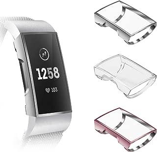 [3個セット] Fintie for Fitbit Charge 3 ケース クリア ソフト TPU メッキ スクリーンカバー 全面保護バンパー シェル 脱着簡単 耐衝撃性 フィットビット Fitbit Charge 3 / Charge 3 SE 保護カバー (シルバー/クリア/ローズピンク)