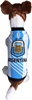 Dog Soccer Jersey Argentina-Pet T-Shirt- Made of 100% Polyester-Breathable Fabric-Makes Dog Comfortable-Cozy up Costume to Celebrate The Russia World Cup 2018-enjoy Your Football Team Passion