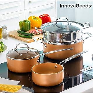 InnovaGoods IG813918 Batería de Cocina con Vaporera Copper-